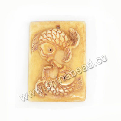 Carved Bone Pendants, Antique, Fish Animal, Rectangle, Approx 38x27x7mm, Hole:Approx 2mm, Sold by PCS
