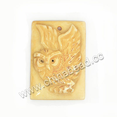 Carved Bone Pendants, Ivory, Owl Animal, Rectangle, Approx 39x27x7mm, Hole:Approx 2mm, Sold by PCS