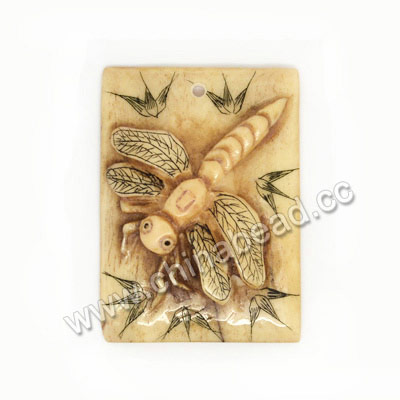 Carved Bone Pendants, Antique, Dragonfly Animal Scrimshaw, Rectangle, Approx 39x28x7mm, Hole:Approx 2mm, Sold by PCS