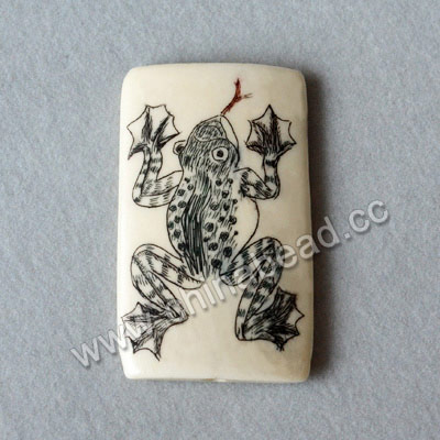 Carved Bone Pendants, White, Watergrass & Frog Animal Scrimshaw, Rectangle, Approx 40x24x6mm, Hole:Approx 2mm, Sold by PCS