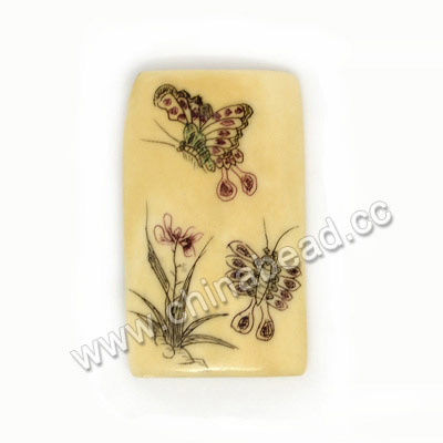 Carved Bone Pendants, Ivory, Butterfly Flower & Bamboo Scrimshaw, Rectangle, Approx 40x24x6mm, Hole:Approx 2mm, Sold by PCS