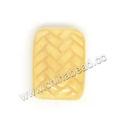 Carved Bone Beads, Ivory, Chinese Weave, Rectangle, Approx 24x17x7mm, Hole:Approx 2mm, Sold by PCS