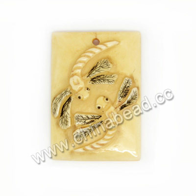 Carved Bone Pendants, Ivory, Dragonfly Animal Scrimshaw, Rectangle, Approx 38x26x6mm, Hole:Approx 2mm, Sold by PCS