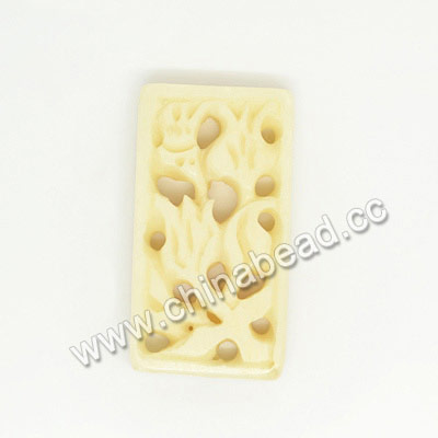 Carved Bone Pendants, Ivory, Flower, Rectangle, Approx 30x16x4mm, Hole:Approx 2mm, Sold by PCS