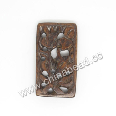 Carved Bone Pendants, Brown, Flower, Rectangle, Approx 30x16x4mm, Hole:Approx 2mm, Sold by PCS