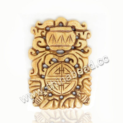 Carved Bone Pendants, Antique, Birds Animal & Double happiness Chinese Symbol, Rectangle, Approx 54x36x5mm, Hole:Approx 2mm, Sold by PCS