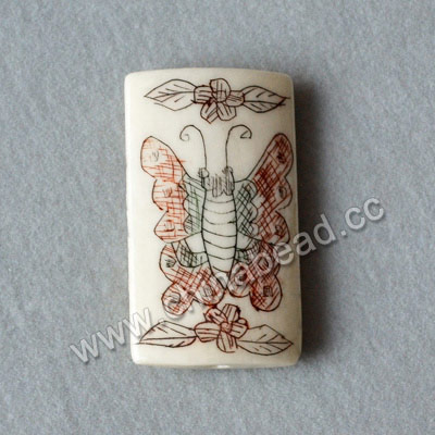 Carved Bone Pendants, White, Flower & Butterfly Animal Scrimshaw, Rectangle, Approx 32x18x5mm, Hole:Approx 2mm, Sold by PCS