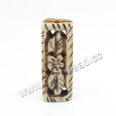 Carved Bone Beads, Antique, Flower & Leaf, Rectangle, Approx 31x11x6mm, Hole:Approx 2mm, Sold by PCS