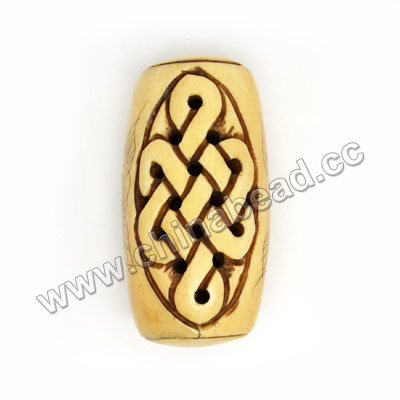 Carved Bone Pendants, Antique, Flower & Chinese Knot Scrimshaw, Drum/Barrel, Approx 25x49mm, Hole: Approx 2mm, Sold by PCS