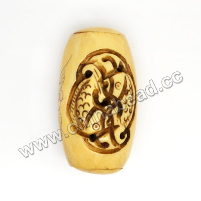 Carved Bone Pendants, Antique, Flower & Fish Animal Scrimshaw, Drum/Barrel, Approx 27x49mm, Hole: Approx 2mm, Sold by PCS