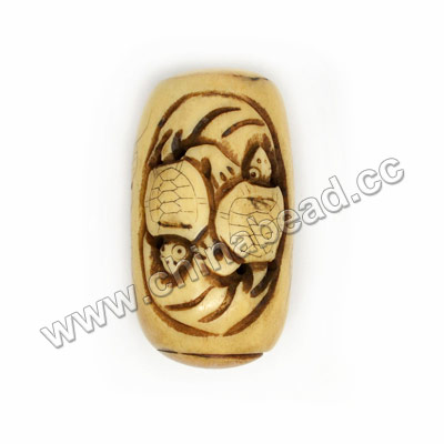 Carved Bone Pendants, Antique, Flower & Turtle/tortoise Animal Scrimshaw, Drum/Barrel, Approx 28x49mm, Hole: Approx 2mm, Sold by PCS