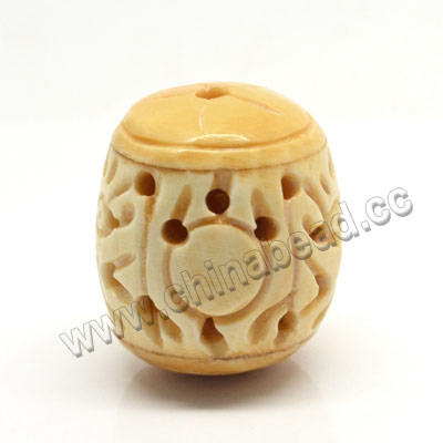 Carved Bone Pendants, Ivory, Dragon Animal, Drum/Barrel, Approx 24x27mm, Hole: Approx 2mm, Sold by PCS