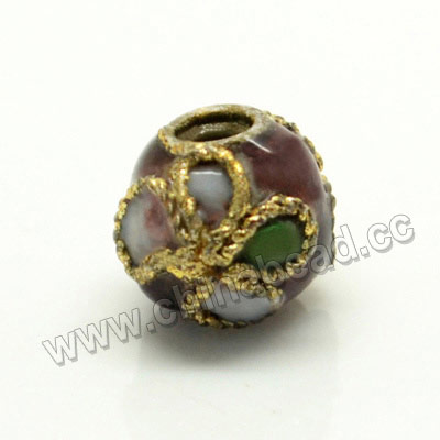Cloisonne beads, Amethyst, Flower, Round, 6mm, Hole:Approx 1-2mm, Sold by PCS