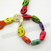 Gemstone Beads, Howlite, Mulit-colored, Flat skull, Approx 15x13x4mm, Hole: Approx 1-2mm, 27 pcs per strand, Sold by strands