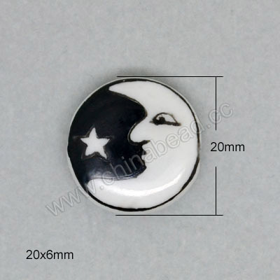 Handpainted Porcelain Beads, White, Moon star, Side drilled coin disc, Flat Round, Approx 20x6mm, Hole: Approx 2mm, Sold by PCS