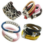 Stainless Steel Leather Bracelets