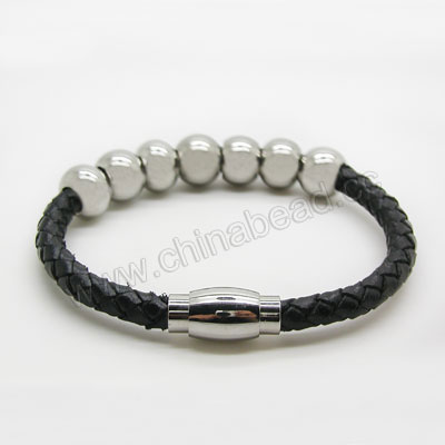 Fashion Bracelets, Hand-knitted leather lace bracelet with stainless steel beads and magnetic clasp, Black, Approx 74mm in diameter, Sold by strands