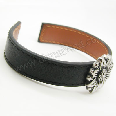 Fashion Bracelets, Leather cuff bangle with antique stainless steel flower charm, Black, Approx 66mm in diameter, Sold by strands