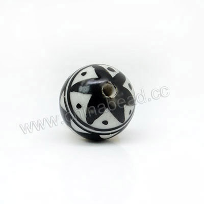 Handpainted Porcelain Beads, Black and white, Abstract painting, Round, Approx 16mm, Hole: Approx 2mm, Sold by PCS