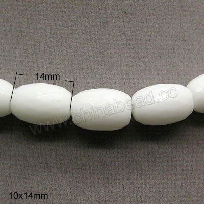 Glass Beads, Milky white, Faceted drum, Approx 10x14mm, Hole: Approx 1mm, 28pcs per strand, Sold by strands