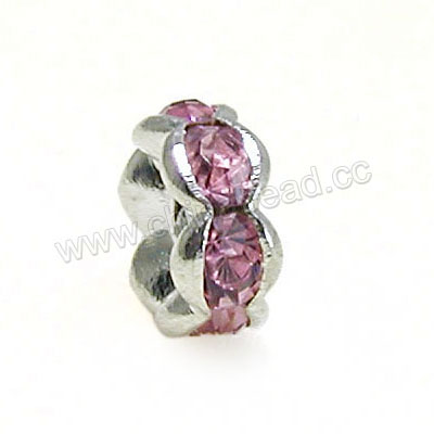 Rhinestone beads with pink stones, Brass in silver plating, Wave rondelle, Flat, Approx 4x2mm, Hole: Approx 1mm, Sold by Bags