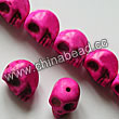 Gemstone Beads, Howlite, Fuchsia, Carved skulls, Approx 10x12mm, Hole: Approx 1-2mm, 32 pcs per strand, Sold by strands
