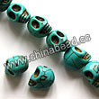 Gemstone Beads, Howlite, Turquoise, Carved skulls, Approx 10x12mm, Hole: Approx 1-2mm, 32 pcs per strand, Sold by strands