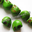 Gemstone Beads, Howlite, Green, Carved skulls, Approx 14x18mm, Hole: Approx 1-2mm, 22 pcs per strand, Sold by strands