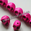 Gemstone Beads, Howlite, Fuchsia, Carved skulls, Approx 23x30mm, Hole:Approx 1-2mm, 12 pcs per strand, Sold by strands