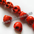 Gemstone Beads, Howlite, Orange, Carved skulls, Approx 23x30mm, Hole: Approx 1-2mm, 12 pcs per strand, Sold by strands