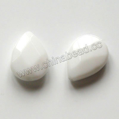 Glass Beads, Milky white, Faceted flat teardrop, Approx 15x20x6mm, Hole: Approx 1mm, 20pcs per strand, Sold by strands