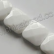 Glass Beads, Milky white, Faceted square, Approx 12x12x5mm, Hole: Approx 1mm, 33pcs per strand, Sold by strands