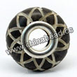 Carved Bone Beads, Black, Sunflower, Large Hole/European style, Rondelle, Approx 15x8mm, Hole:Approx 5mm, Sold by PCS
