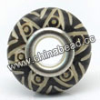 Carved Bone Beads, Black, Six-pointed Star, Large Hole/European style, Rondelle, Approx 15x8mm, Hole:Approx 5mm, Sold by PCS