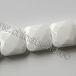 Glass Beads, Milky white, Faceted square, Approx 18x18x6mm, Hole: Approx 1mm, 22pcs per strand, Sold by strands
