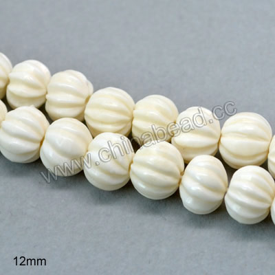 Carved Bone Beads, White, Charming pumpkin design, Round, Approx 12mm, Hole:Approx 3mm, Sold by PCS