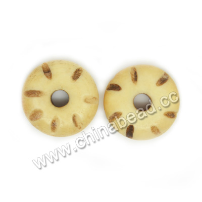 Carved Bone Beads, Antique, Small rondelle, Approx 4x11mm, Hole:Approx 2mm, Sold by PCS