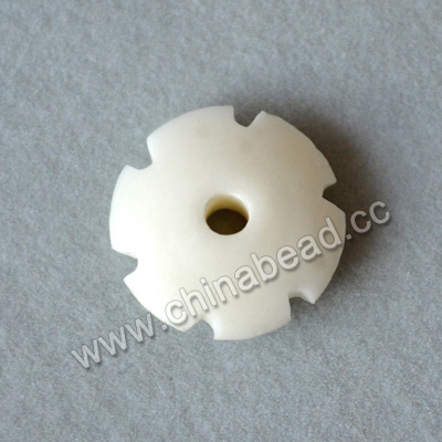 Carved Bone Beads, White, Nice gear shape, Rondelle, Approx 5x15mm, Hole:Approx 2mm, Sold by PCS