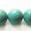 Gemstone Beads, Magnesite, Turquoise blue, Smooth round, Approx 14mm, Hole: Approx 1mm, Sold per 16-inch strand