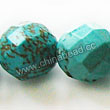 Gemstone Beads, Magnesite, Turquoise blue, Faceted round, Approx 14mm, Hole: Approx 1mm, Sold per 16-inch strand