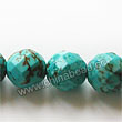 Gemstone Beads, Magnesite, Turquoise blue, Faceted round, Approx 10mm, Hole: Approx 1mm, Sold per 16-inch strand
