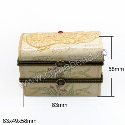Carved Bone Jewelry Box, Ivory, Nice double dragons, Three layers, Cuboid, Large size, Approx 83x49x58mm, Sold by PCS