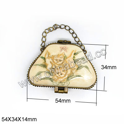 Carved Bone Jewelry Box, Ivory, Lady handbag & chains with Scrimshaw of cute cats & orchids, Flat, Trapezoid, Approx 54x34x14mm, Sold by PCS