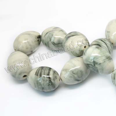 Natural Veins ceramic beads, White background with black veins, Egg, Oval, Approx 33x24mm, Hole: Approx 2mm, Sold by PCS