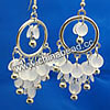 Fashion Earrings, Handmade acrylic beads dangle / Chandelier earrings, Acrylic disc beads in white color with silver bells and circle, Approx 58x30mm, Sold by pairs