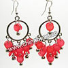 Fashion Earrings, Handmade acrylic beads dangle / Chandelier earrings, Acrylic disc beads in red color with silver color bells and circle, Approx 58x30mm, Sold by pairs