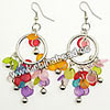 Fashion Earrings, Handmade acrylic beads dangle / Chandelier earrings, Acrylic disc beads in assorted colors with silver bells and circle, Approx 58x30mm, Sold by pairs