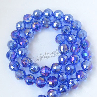 Glass Beads, Hand-cut Crystal, Sapphire aurora borealis, Faceted round, 96 facets, Approx 10mm, Hole: Approx 1mm, Sold by strands