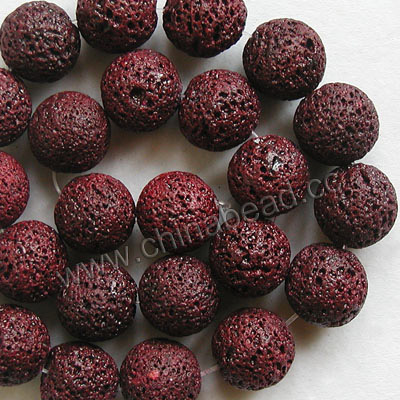 Gemstone Beads, Lava Rock, Dark red, Round, Approx 16mm, Hole: Approx 1mm, 25pcs per strand, Sold by strands