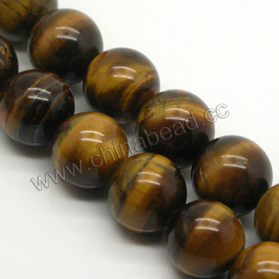 Gemstone Beads, Tigereye, Brown, Round, Approx 12mm, Hole: Approx 1mm, Sold per 16-inch strand